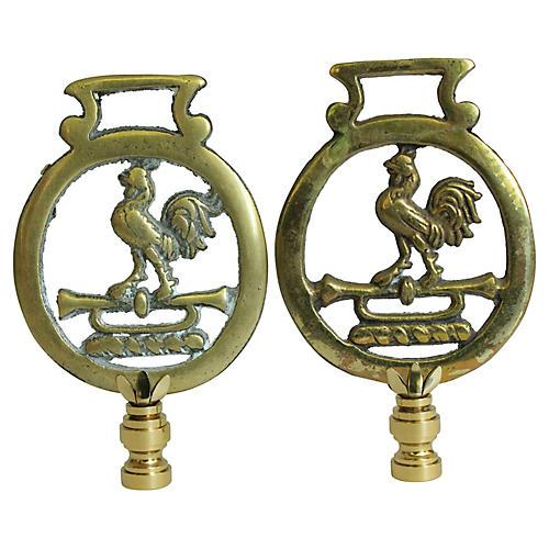 Brass Weathervane Lamp Finials, Pair