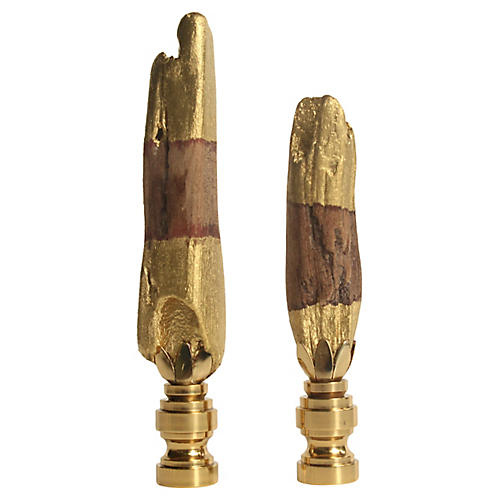 Gold Dipped Driftwood Lamp Finials, Pair