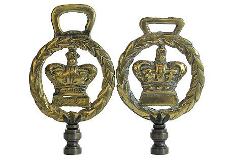 British Crown Brass Lamp Finials, Pair