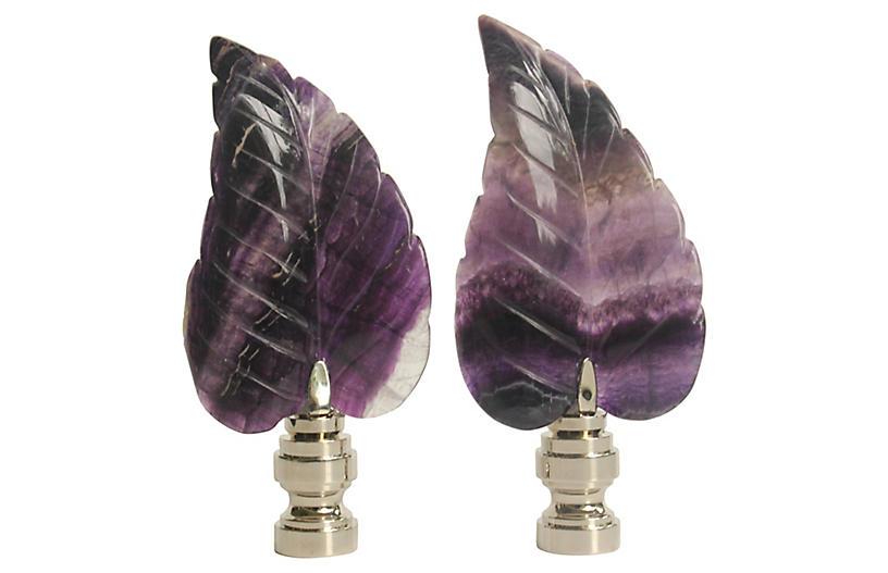 Fluorite Leaf Lamp Finials, Pair