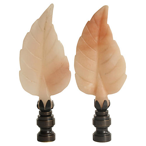Fall Leaf Lamp Finials, Pair