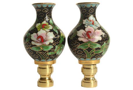 Cloisonné Vase Lamp Finials, Pair