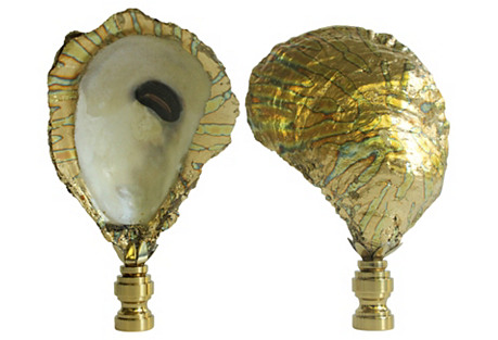 Surf Gilded Oyster Lamp Finials, Pair