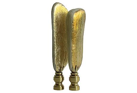 Gilded Driftwood Lamp Finials, Pair