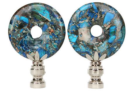 Peacock Jasper Lamp Finials, Pair