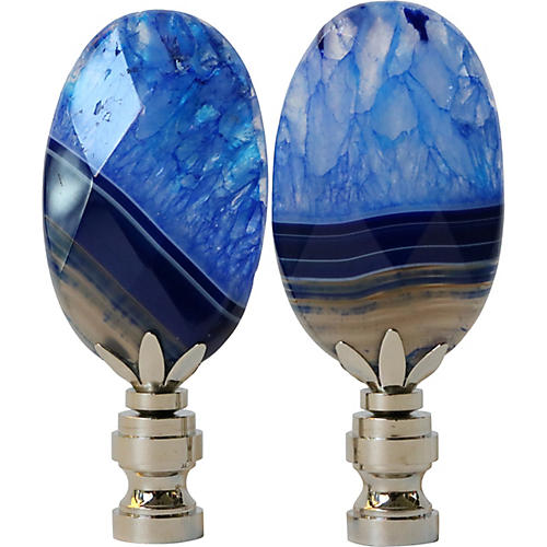 Faceted Agate Lamp Finials, Pair