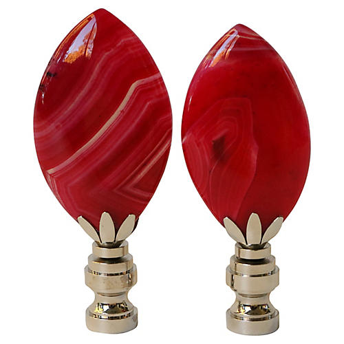 Red Agate Lamp Finials