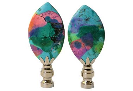 Surf Howlite Lamp Finials, Pair