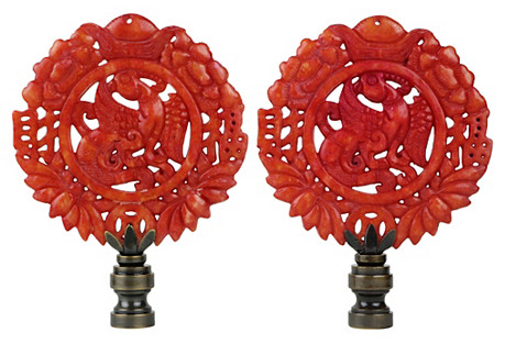 Wreathed Phoenix Lamp Finials, Pair
