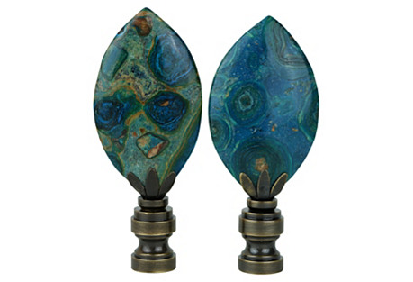Spotted Jasper Lamp Finials, Pair