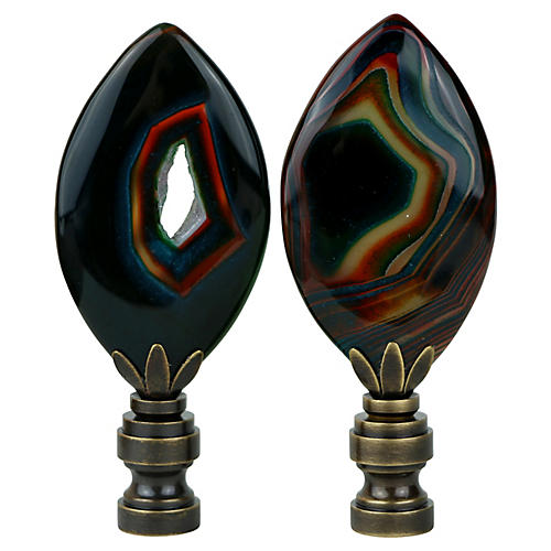 Agate Nebula Lamp Finials, Pair