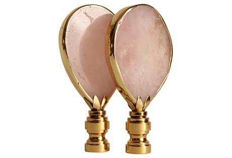 Gilded Rose Quartz Lamp Finials, Pair