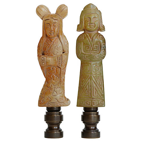 Chinese Couple Lamp Finials, Pair