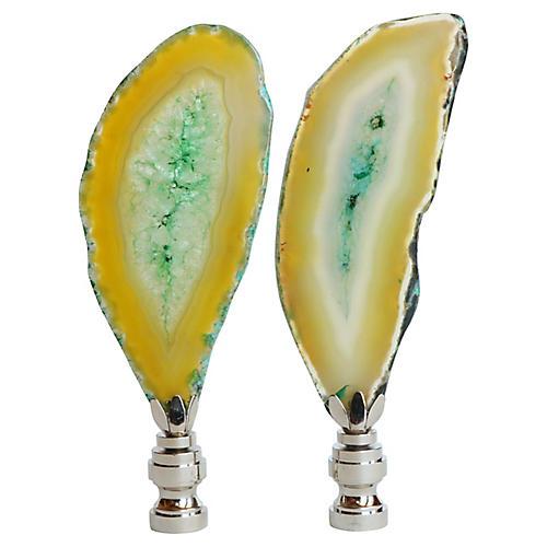 Agate Slice Lamp Finials, Pair
