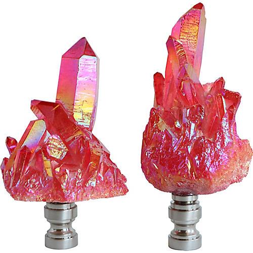 Quartz Cluster Lamp Finials, Pair