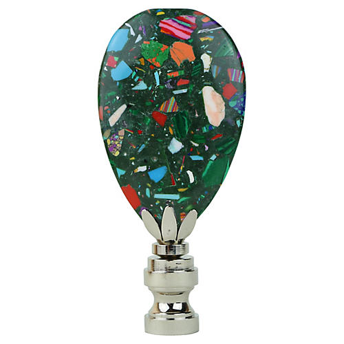 Evergreen Confetti Lamp Finial