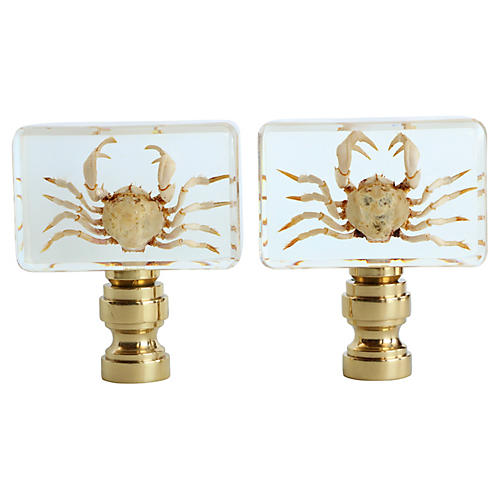 Crab Lamp Finials, Pair