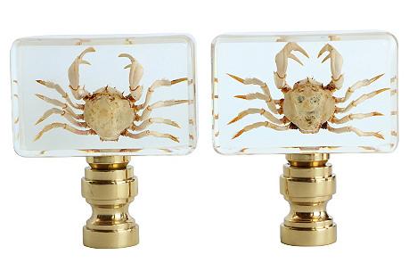 Crab Lamp Finials, Pair