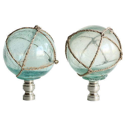 Netted Aqua Glass Lamp Finials, Pair