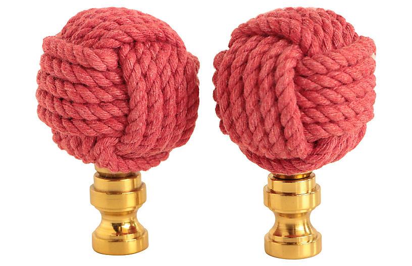 Nautical Knot Lamp Finials, Pair
