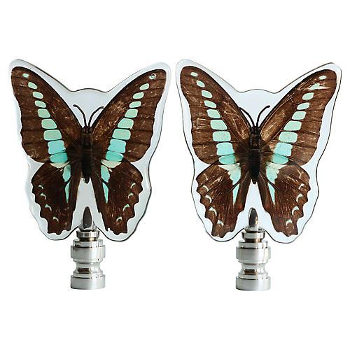 Bluebottle Butterfly Lamp Finials, Pair