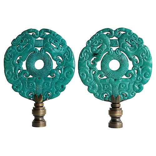 Asian-Style Stone Lamp Finials, Pair