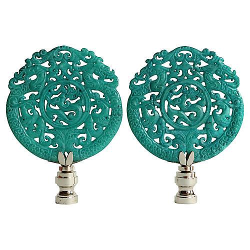 Dragon Crest Lamp Finials, Pair