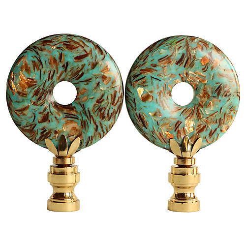 Ocean Ribbon Lamp Finials, Pair