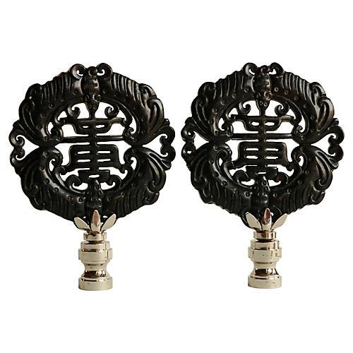 Good Fortune Lamp Finials, Pair