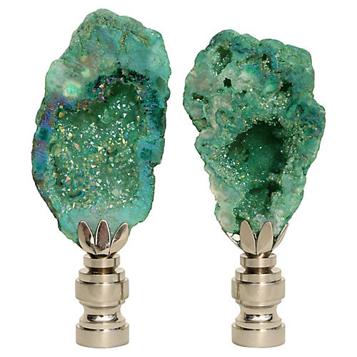Titanium Geode Lamp Finials, Pair