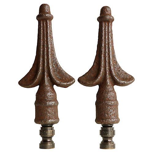 Iron Crest Lamp Finials, Pair