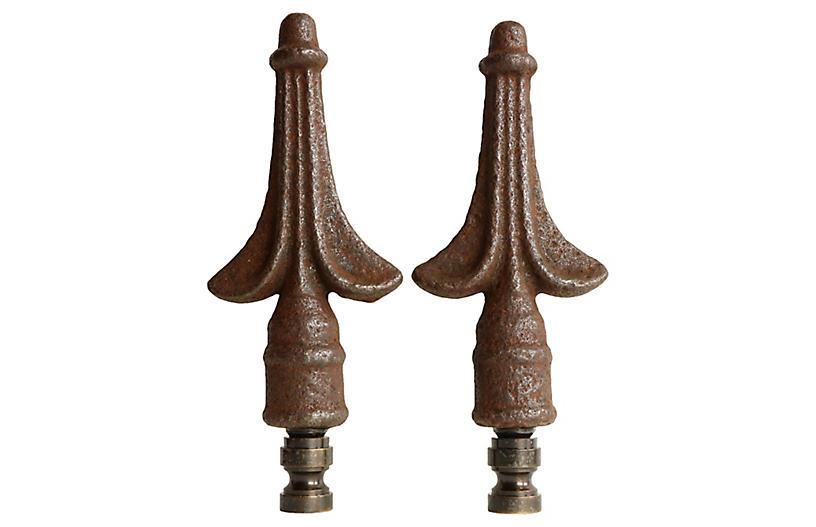 Iron Crest Lamp Finials, Pair