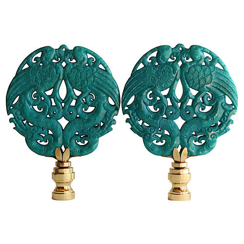 Asian Peacock Lamp Finials, Pair