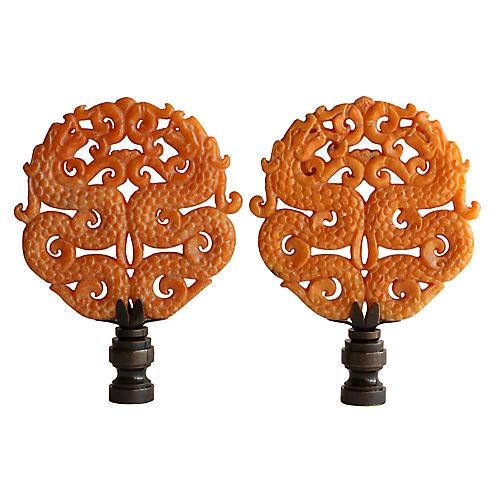 Asian Fighting Dragon Lamp Finials, Pair