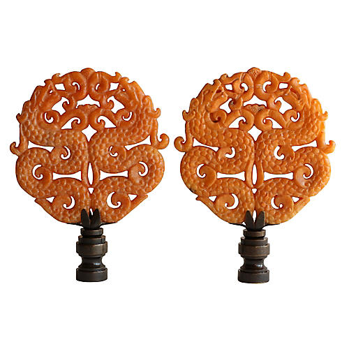Asian Fighting Dragon Lamp Finials, Pair