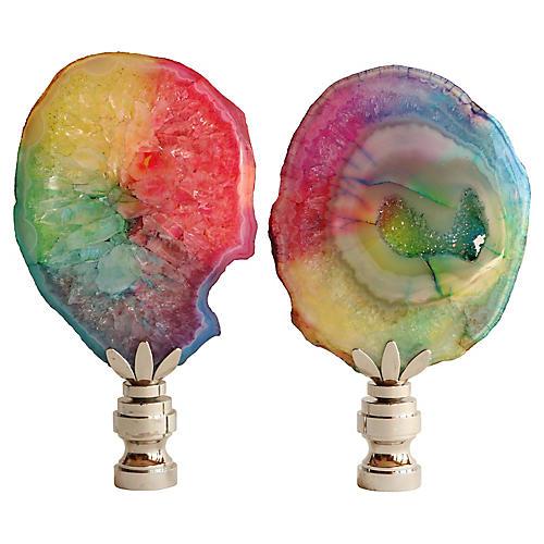 Rainbow Agate Slice Lamp Finals, Pair