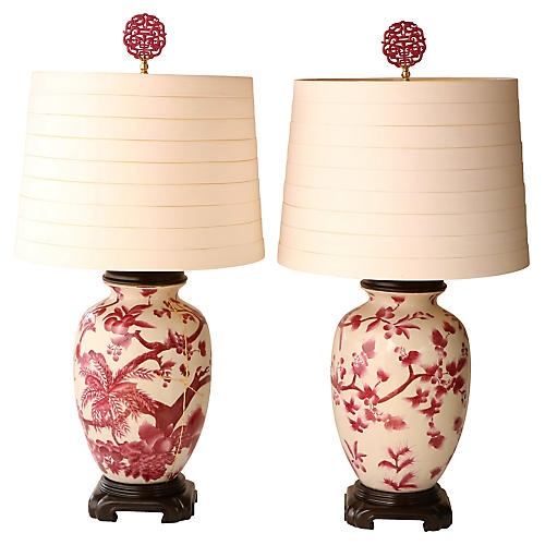 Kintsugi-Style Floral Table Lamps, Pair
