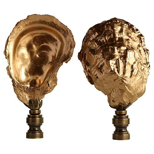 Golden Oyster Shell Lamp Finials, Pair