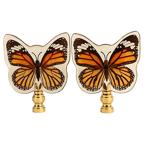 Tiger Butterfly Lamp Finials, Pair