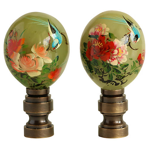 Jade Egg Lamp Finials, Pair