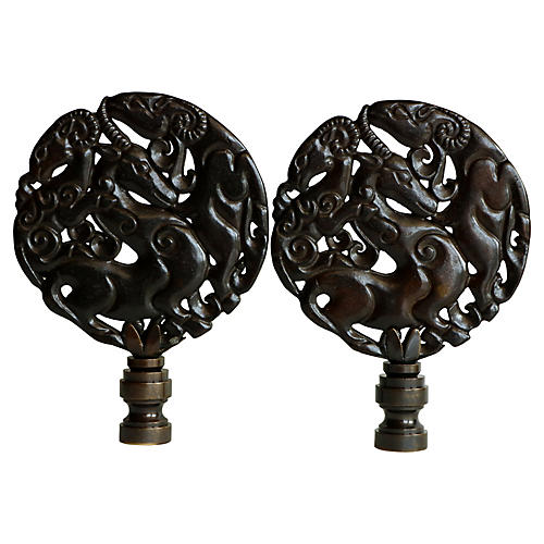 Asian Gazelle Lamp Finials, Pair