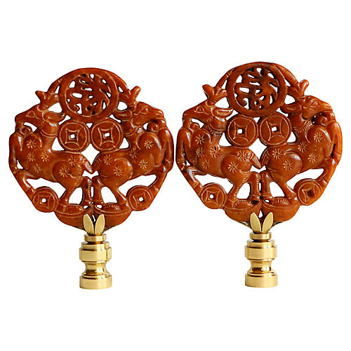 Leaping Stag Lamp Finials, Pair