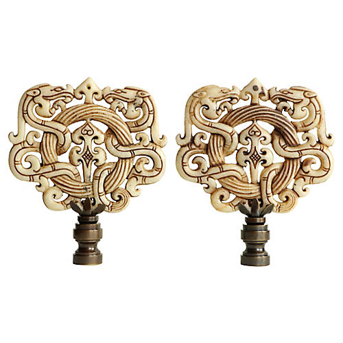Asian Scroll Lamp Finials, Pair