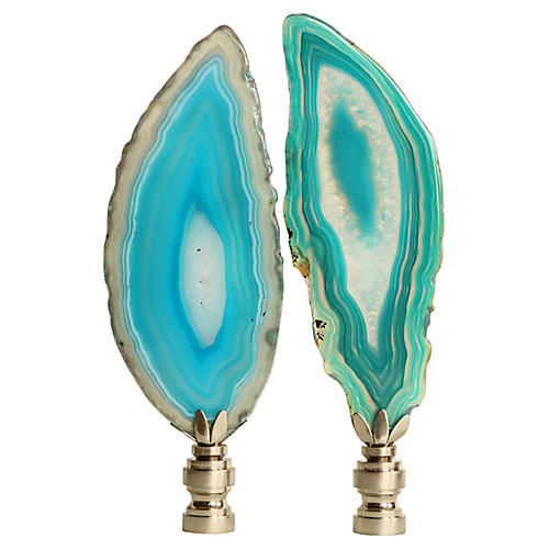 Agate Slice Lamp Finials, Pair