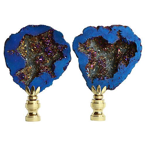 Cobalt Titanium Geode Lamp Finials, Pair