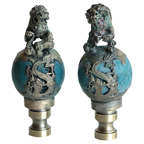 Foo Dog Lamp Finials, Pair