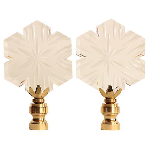 Cut Crystal Snowflake Lamp Finials, Pair
