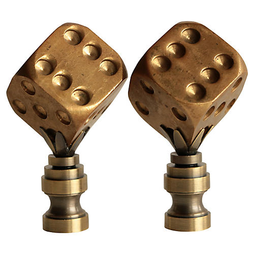 Brass Dice Lamp Finials, Pair