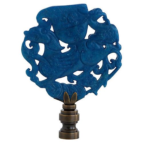 Soaring Fu Dog Carved Stone Lamp Finial