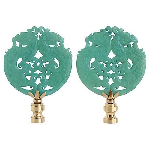 Asian Carved Stone Lamp Finials, Pair